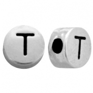Metal-look beads letter T Antique Silver