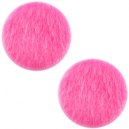 Faux fur cabochons 20mm Fuchsia Pink