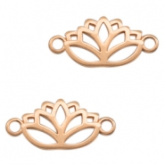 DQ European metal charms connector lotus Rose Gold (nickel free)