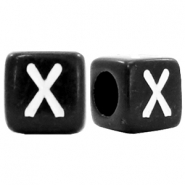 Acrylic letter beads letter X Black