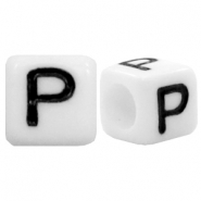 Acrylic letter beads letter P White