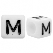 Acrylic letter beads letter M White