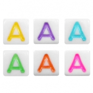Acrylic letter beads letter A Multicolour-White