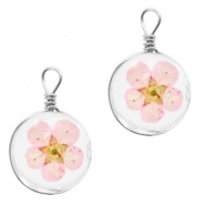 Charms with dried flowers 12mm Light Pink