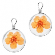 Charms with dried flowers 12mm Orange