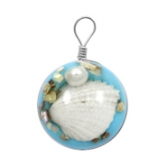 Charms with shell 20mm Sky Blue