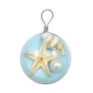 Charms with seastar 20mm Sky Blue