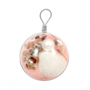Charms with shell 20mm Vintage Rose