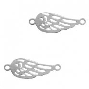 Stainless steel charms connector angel wing Silver