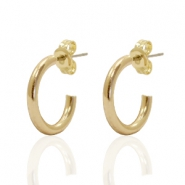 DQ creole earrings 15mm Gold Plated