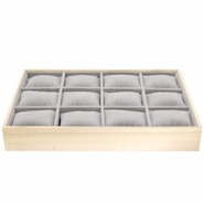 Jewellery display 12 compartments with pillow Natural-Grey