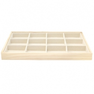 Jewellery display 12 compartments Natural-Linen White