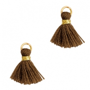 Tassels 1cm Gold-Bitter Chocolate Brown