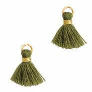 Tassels 1cm Gold-Olive Branch Green