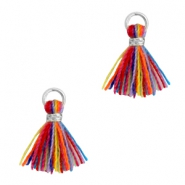 Tassels 1cm Silver-Multi Colour Red Blue