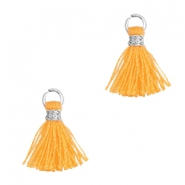 Tassels 1cm Silver-Fire Orange