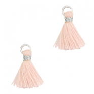 Tassels 1cm Silver-Almond Cream Peach