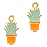 Basic Quality metal charms cactus Gold-Orange Light Blue