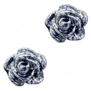 Rose beads 6mm Dark Blue-Silver Coating
