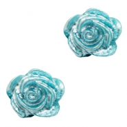 Rose beads 6mm Peacock Blue-Silver Coating