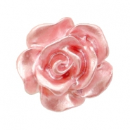 Rose beads 10mm White-Dusty Rose Pearl Shine