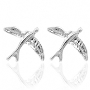 Trendy earrings studs bird Silver