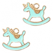 Metal charms rocking horse Deep Gold-Light Blue