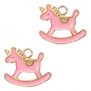 Metal charms rocking horse Deep Gold-Salmon Pink