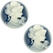 Basic cabochon cameo 20mm Dark Blue-Off White