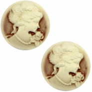 Basic cabochon cameo 20mm Brown-Antique Gold