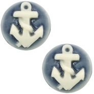 Basic cabochon cameo 20mm anchor Dark Blue-Off White