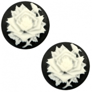 Basic cabochon cameo 20mm rose Black-White