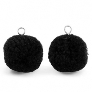 Pompom charms with loop 15mm Black-Silver