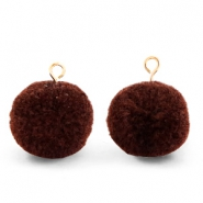 Pompom charms with loop 15mm Dark Brown-Gold