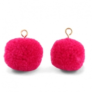Pompom charms with loop 15mm Cherish Pink-Gold