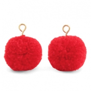 Pompom charms with loop 15mm Dark Coral Red-Gold