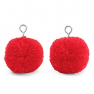 Pompom charms with loop 15mm Dark Coral Red-Silver