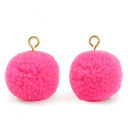 Pompom charms with loop 15mm Bright Pink-Gold