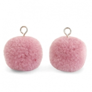 Pompom charms with loop 15mm Vintage Pink-Silver