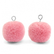 Pompom charms with loop 15mm Rouge Pink-Silver