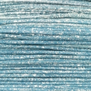 Waxed cord metallic 0.5mm Cool Blue