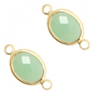 Crystal glass connectors oval 10x9mm Crysolite green opal-Gold