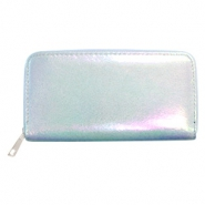 Trendy wallets holographic Metallic Light Blue