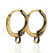 DQ European metal findings closable earrings with loop Antique Bronze (nickel free)
