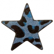Hairy faux leather pendant star with leopard print Dark Blue