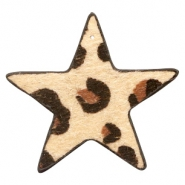Hairy faux leather pendant star with leopard print Beige Brown