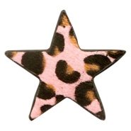 Hairy faux leather pendant star with leopard print Pink