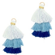 Tassels 3-layer 3.2cm Gold-Multicolour Blue