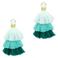 Tassels 3-layer 3.2cm Gold-Multicolour Turquoise