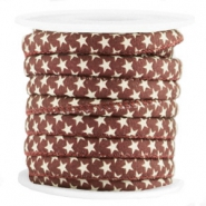 Trendy stitched cord 6x4mm star Aubergine red